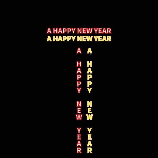 かわいいA HAPPY NEW YEAR文字の無料イラスト・商用フリー