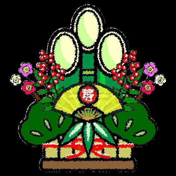 手書き風でかわいい門松の無料イラスト・商用フリー