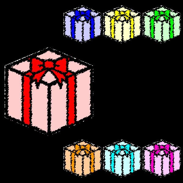 手書き風でかわいいプレゼントボックスの無料イラスト・商用フリー