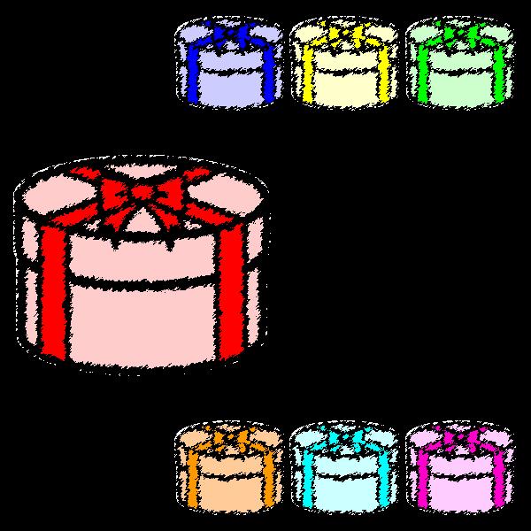 手書き風でかわいい丸いプレゼントボックスの無料イラスト・商用フリー