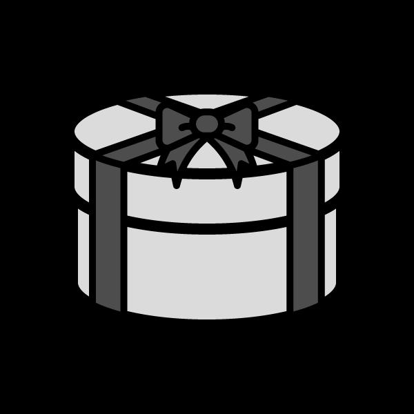 モノクロでかわいい丸いプレゼントボックスの無料イラスト・商用フリー