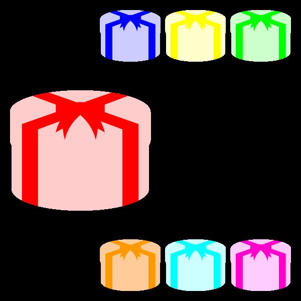 縁無しでかわいい丸いプレゼントボックスの無料イラスト・商用フリー