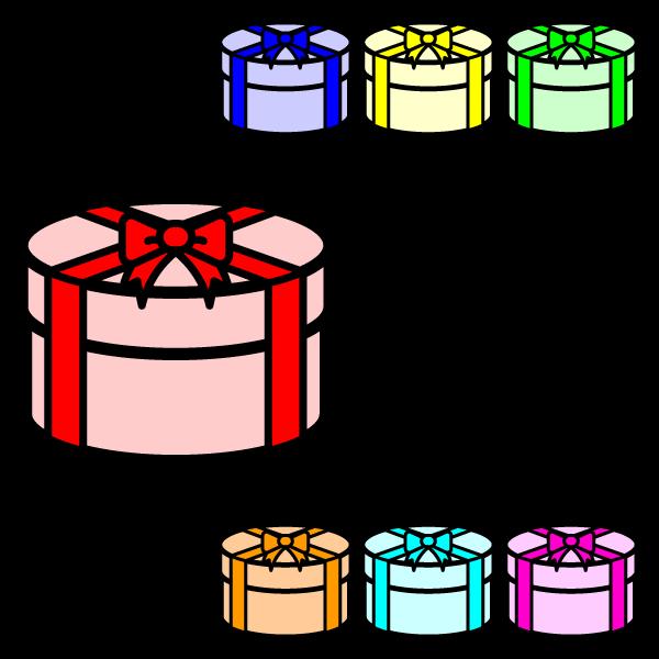 かわいい丸いプレゼントボックスの無料イラスト・商用フリー