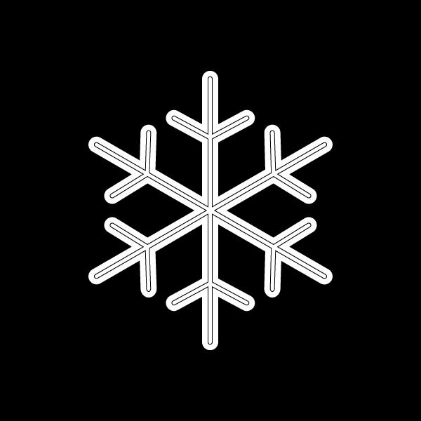 塗り絵に最適な白黒でかわいい雪の結晶の無料イラスト・商用フリー