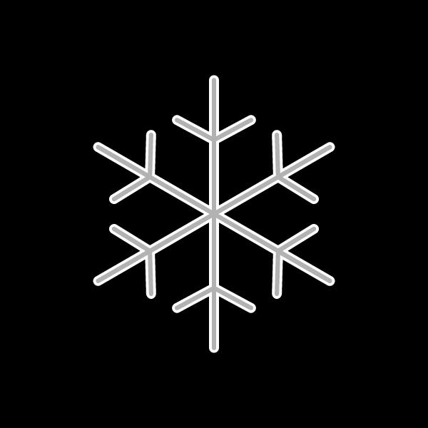 モノクロでかわいい雪の結晶の無料イラスト・商用フリー