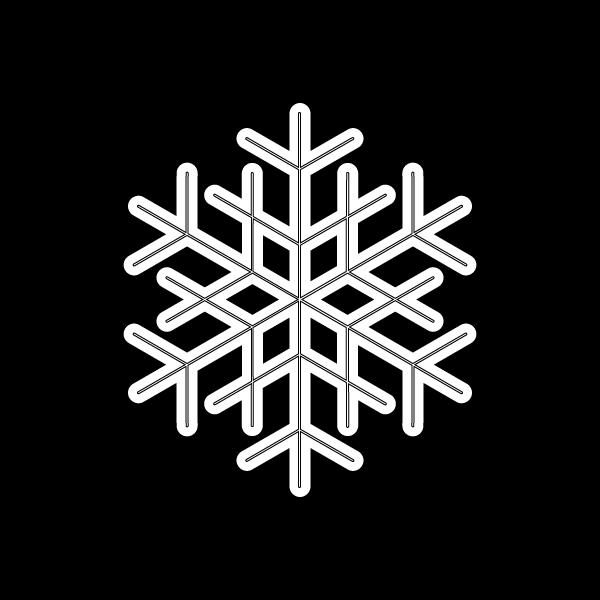 塗り絵に最適な白黒でかわいい雪の結晶2の無料イラスト・商用フリー
