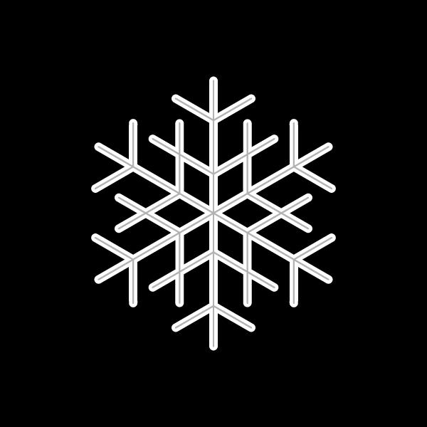 モノクロでかわいい雪の結晶2の無料イラスト・商用フリー