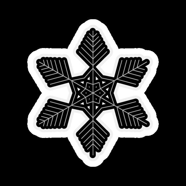 モノクロでかわいい雪の結晶3の無料イラスト・商用フリー