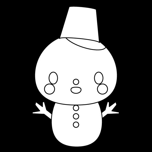 塗り絵に最適な白黒でかわいい雪だるまの無料イラスト・商用フリー