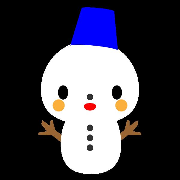 縁無しでかわいい雪だるまの無料イラスト・商用フリー