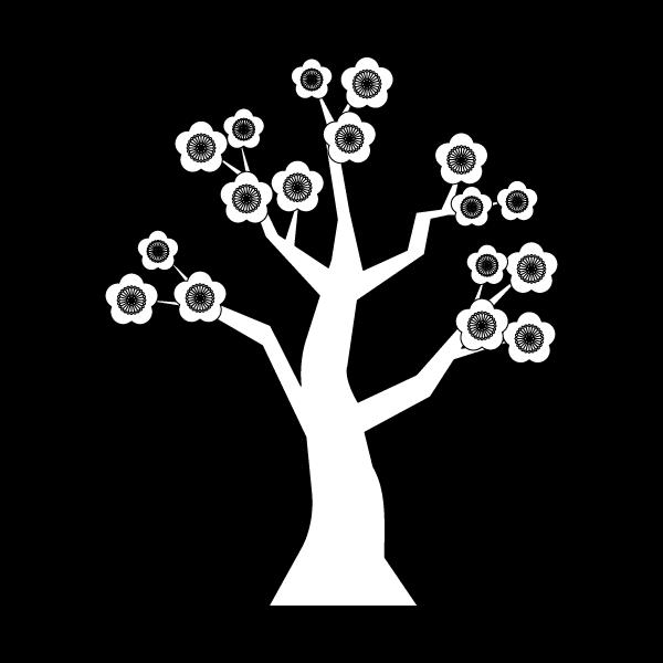 塗り絵に最適な白黒でかわいい梅の木の無料イラスト・商用フリー