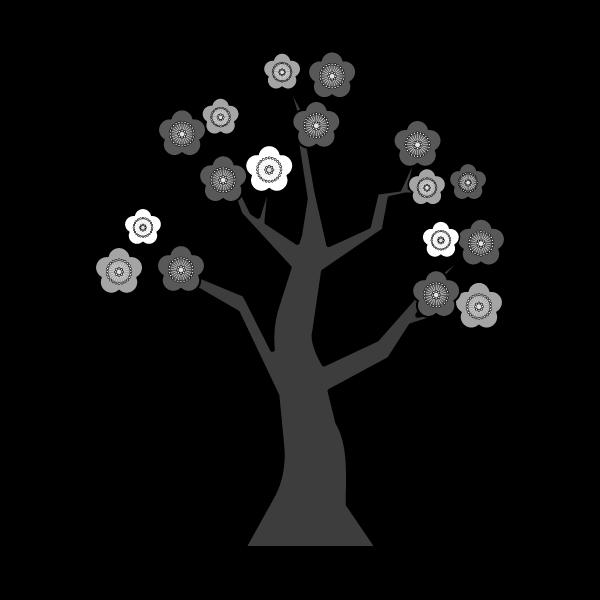 モノクロでかわいい梅の木の無料イラスト・商用フリー