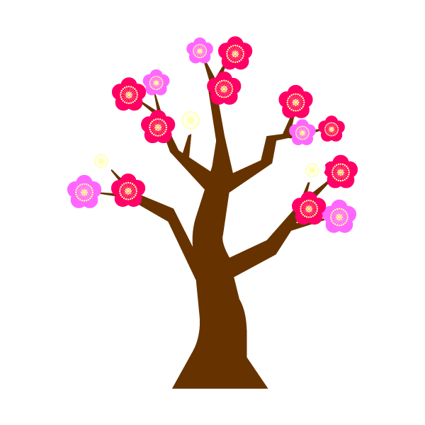 縁無しでかわいい梅の木の無料イラスト・商用フリー