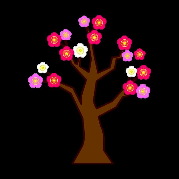 ソフトタッチでかわいい梅の木の無料イラスト・商用フリー