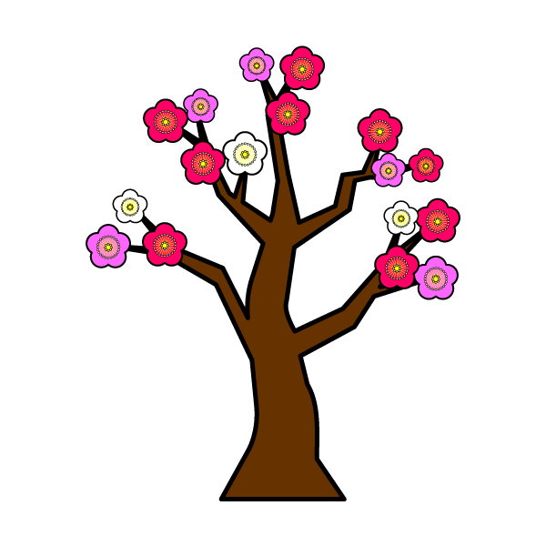 かわいい梅の木の無料イラスト・商用フリー