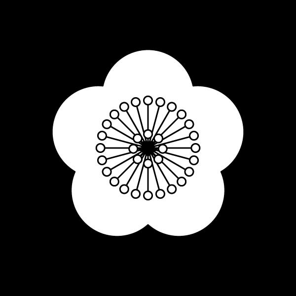 塗り絵に最適な白黒でかわいい梅の花の無料イラスト・商用フリー