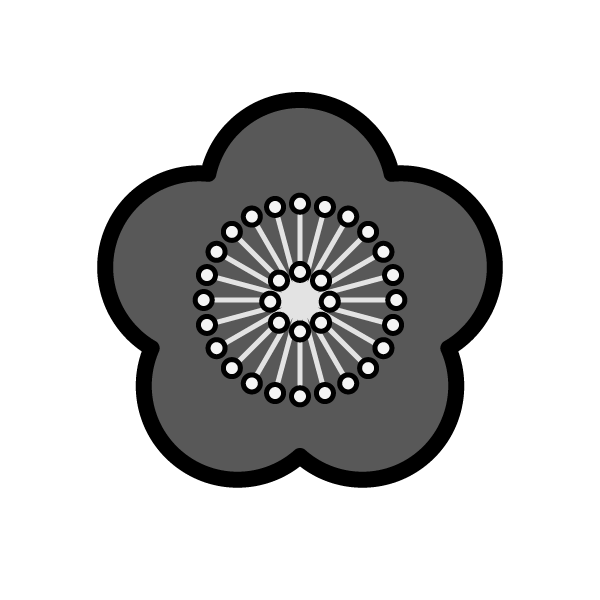 モノクロでかわいい梅の花の無料イラスト・商用フリー