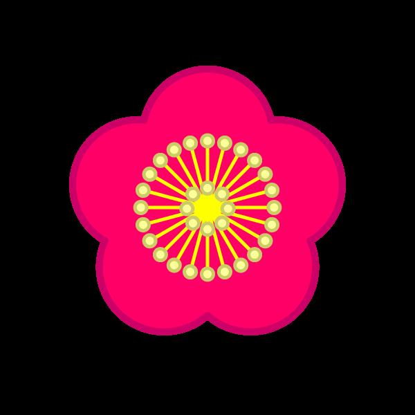 ソフトタッチでかわいい梅の花の無料イラスト・商用フリー