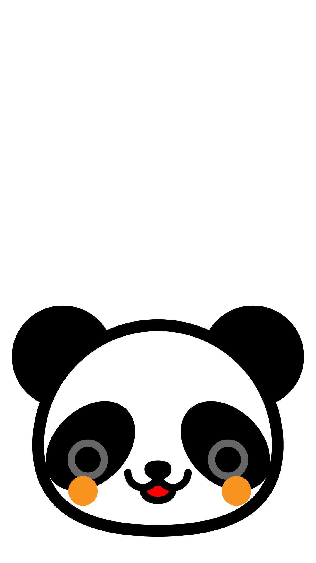 かわいい顔だけパンダ壁紙(iPhone)の無料イラスト・商用フリー