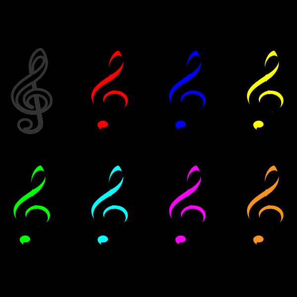 かわいい音符(ト音記号)の無料イラスト・商用フリー