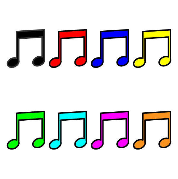 かわいい音符(八分音符)2の無料イラスト・商用フリー